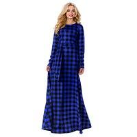 גדלים גדולים נשים שמלת מקסי האופנה וינטג 'שמלות ארוכות אופנה שמלת ערב vestidos אלגנטיות שרוול הארוך משובץ בתוספת גודל 6xl