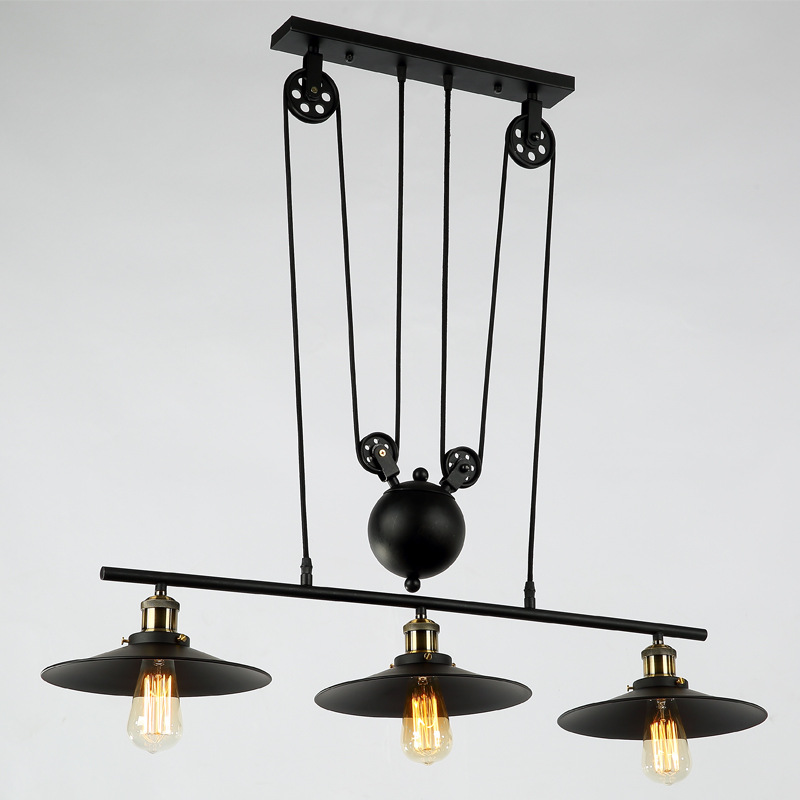 E27 Edison Bulb Lamps Loft Vintage Industrial Retro Pulley Pendant Light American Style Wrought Iron Black Pendant lamps WPL166 iron modern pendant light wrought iron cage droplight vintage pendant lamps foyer lamp loft light black white e27 85 260v