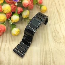 30 мм Высокое качество Серебряный Развертывания Ремешок Черной Керамики Смотреть Группы Браслеты Общие
