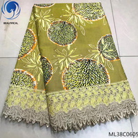 BEAUTIFICAL Lace Fabric 2019 Ankara Wax Laces Fabric Wax Cord Lace Fabric For Women Wedding Party Dress 6 yards/lot ML38C06