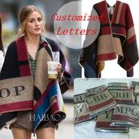 2014 Brand Prorsum Cashmere And Wool Scarf Monogramed Poncho Prorsum Cape Colour Block Check Blanket Poncho