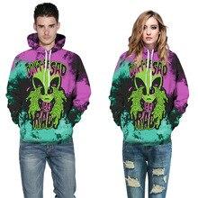 3D digital print alien hoodie men's ladies sweat spring autumn hoodie couple lovers hedge fashion big size hat collar hoodie 3XL