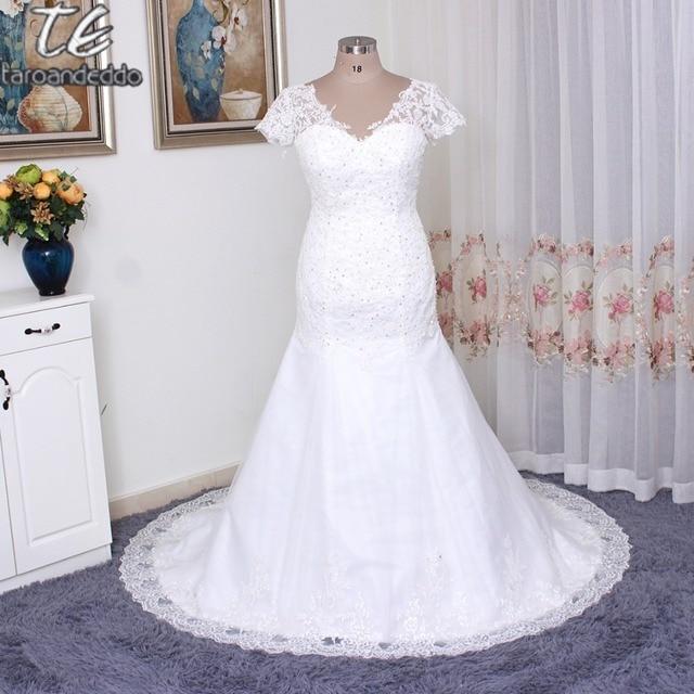 Плюс Размеры Русалка свадебное платье Рубашка с короткими рукавами v-образным вырезом Аппликация Кружево с кристаллами открытой спиной Свадебные платья 26 Вт