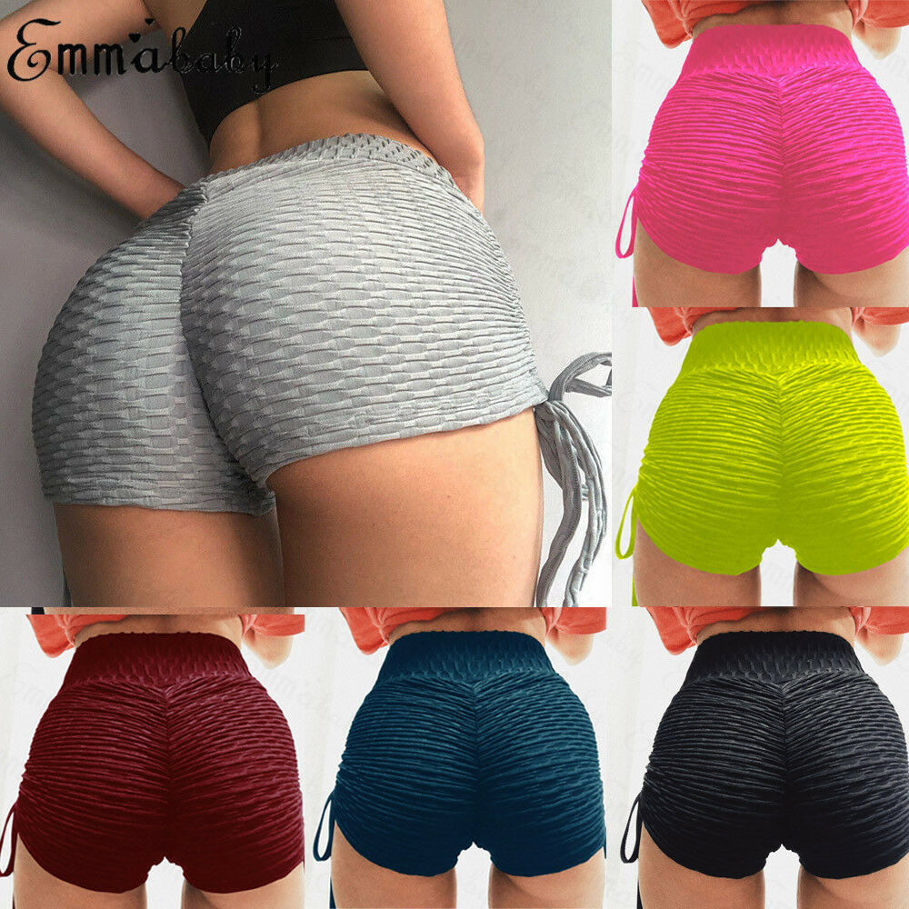 Women High Waist Shorts Summer Sports Casual Beach Running Slim Short Pants Ladies Fitness Shorts Solid Hot Pants in Shorts from Women 39 s Clothing