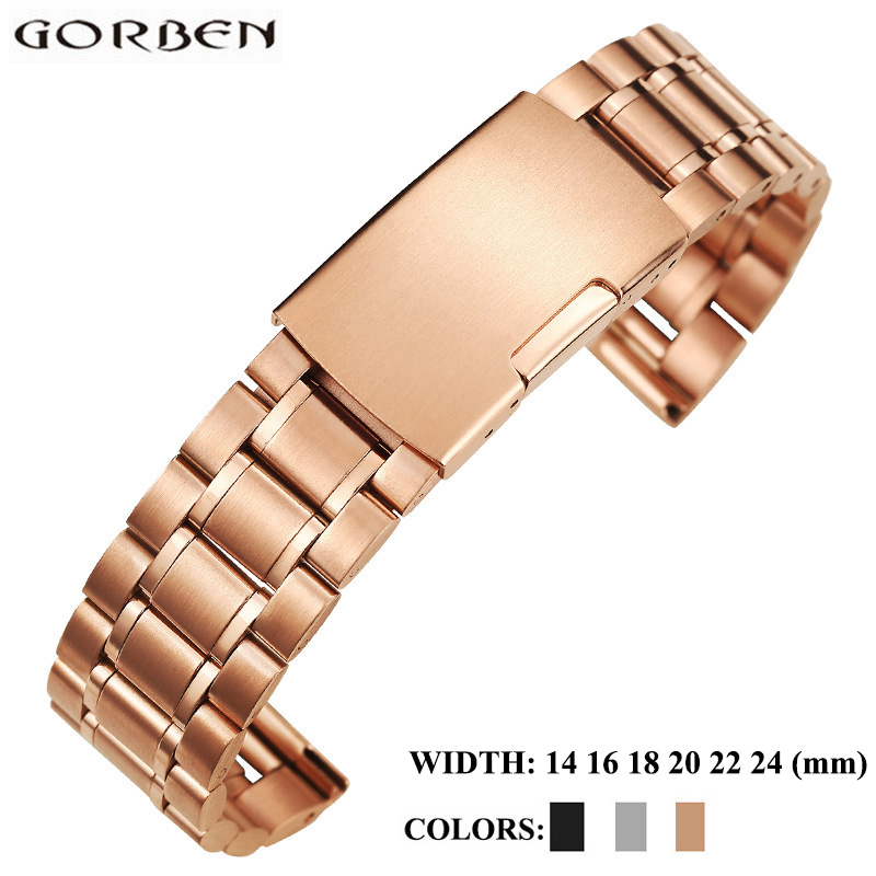 14mm 16mm 18mm 20mm 22mm 24mm Metal Bracelets Watch Strap Band Stainless Steel Rose Gold Black Watchbands For Omega Tissot Casio 8 10 12 14 16mm 18mm 20mm 22mm 24mm black silver gold rose gold ultra thin stainless steel milan mesh strap bracelets watch band