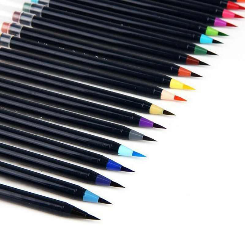 20 colores Premium suave acuarela pincel pluma Flexible punta pintura pincel agua bolígrafos para niños adultos negro soporte colorante