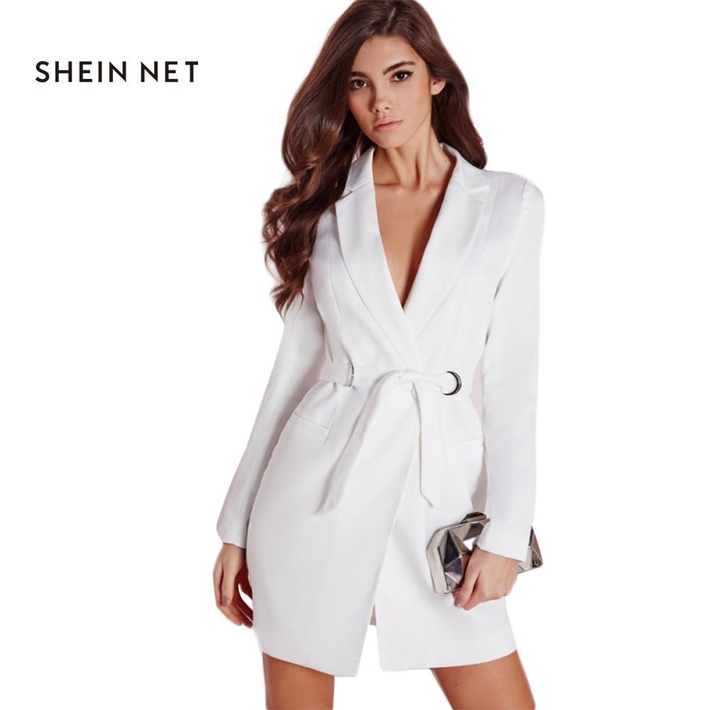 Sheinnet blanco mini casual dress señora de la oficina traje empate cintura prim