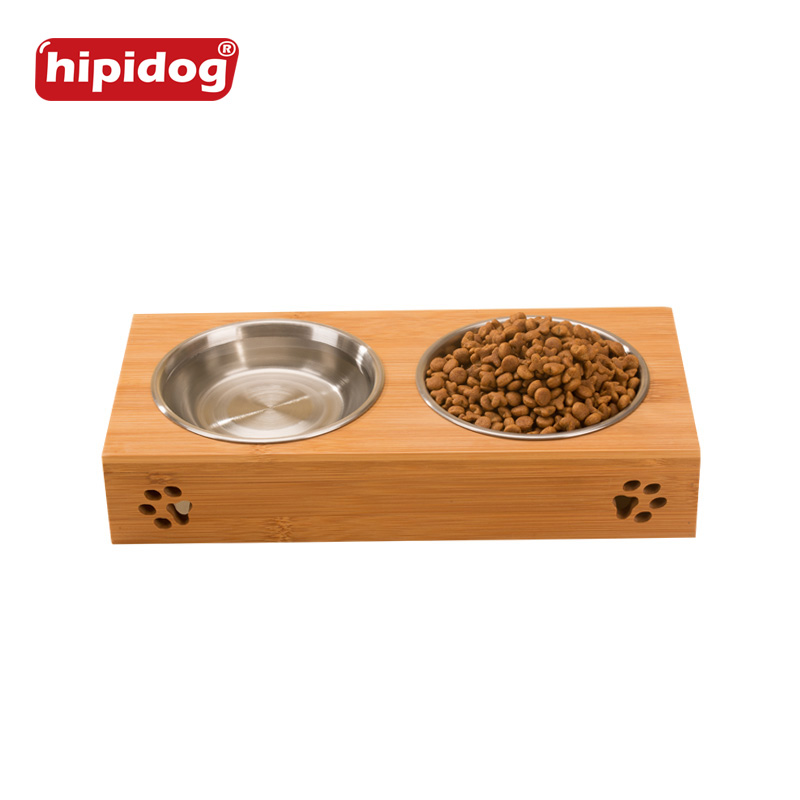 Hipidog Bamboo Stainless Steel Dog Feeder Bowls Two Type s