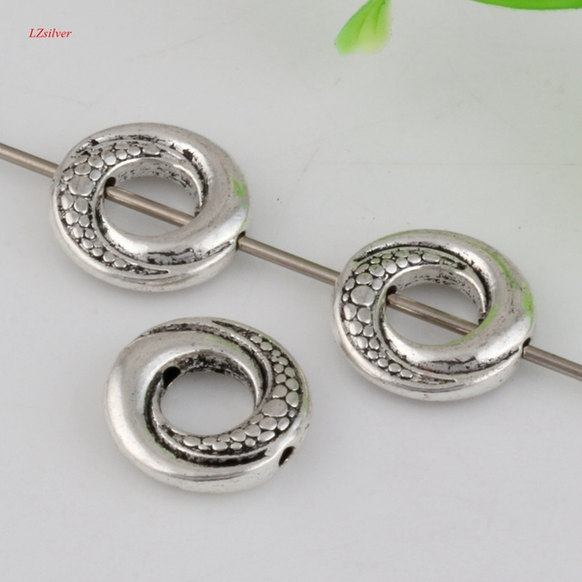 Hot ! 100pcs Antiqued Silver Zinc Alloy Round Circle Spacer Beads ...