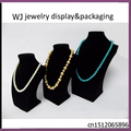 Wholesale Kit of 3 New Black Velvet Jewelry Display Bust Pendants & Necklaces Neck Forms Wood Organizer Showed Cases For Window