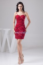 free shipping 2013 new design hot seller formal princess custom size/color pleat short brides maid dress red Bridesmaid Dresses