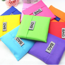 70PCS / LOT Shopping Bag  Foldable Green Environmental Storage Reusable Tote Pouch Nylon Pure Color Handbags