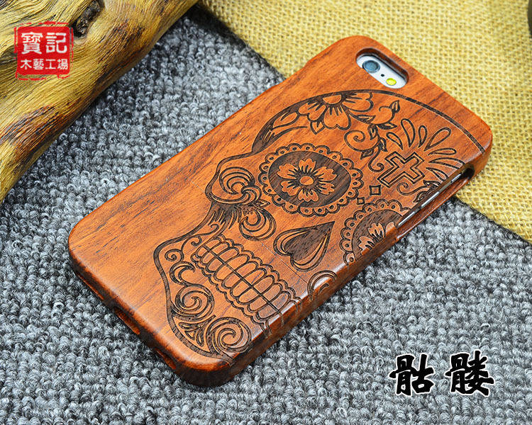 """New Skull Full Wood Case for <font><b>iPhone</b></font> 6 Wooden New Cover Natural Real Bamboo Carving Wood Back Cover For <font><b>iphone</b></font> 6s 4.7\"""" +Free Film"""