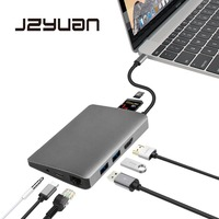 JZYuan USB C Dock HDMI Ethernet Audio 3.5mm With Type C PD USB 3.0 Card Reader Hub Adapter Laptop Accessories For Macbook Pro