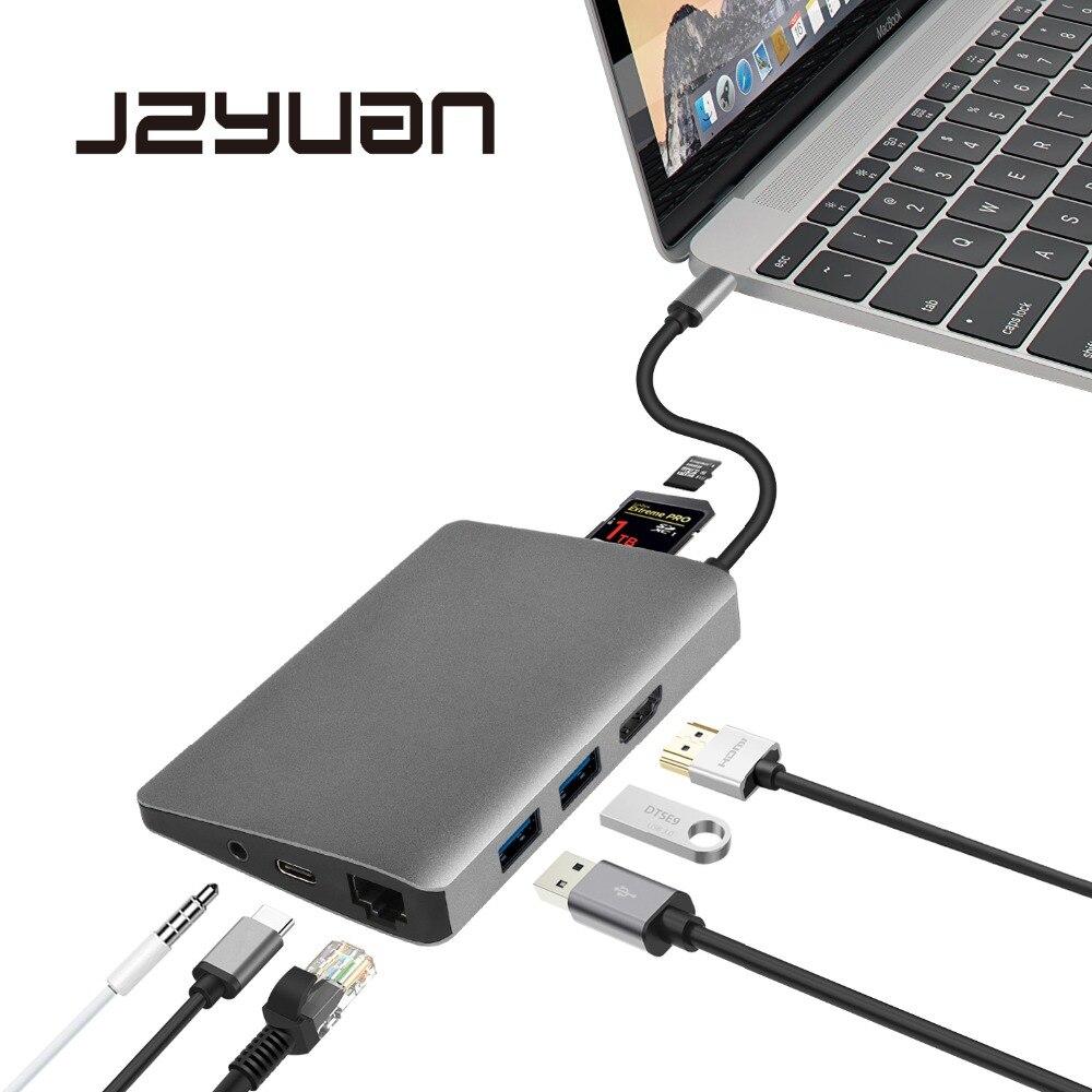 JZYuan USB C Dock HDMI Ethernet Audio 3.5mm Avec Type C PD USB 3.0 Lecteur de Carte Hub Adaptateur Ordinateur Portable accessoires Pour Macbook Pro