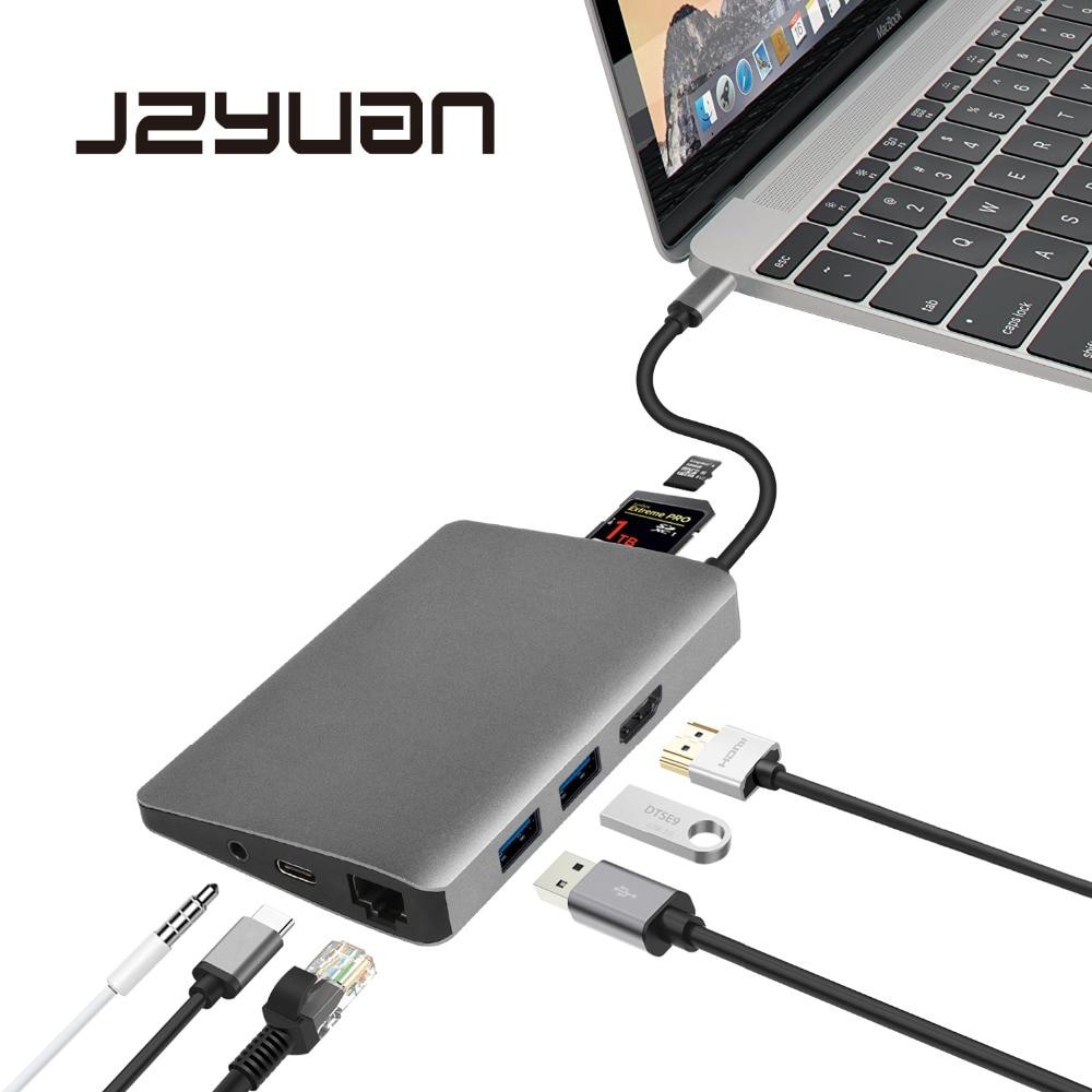JZYuan USB C Dock HDMI Ethernet Audio 3.5mm avec Type C PD USB 3.0 lecteur de carte adaptateur de moyeu accessoires d'ordinateur portable pour Macbook Pro