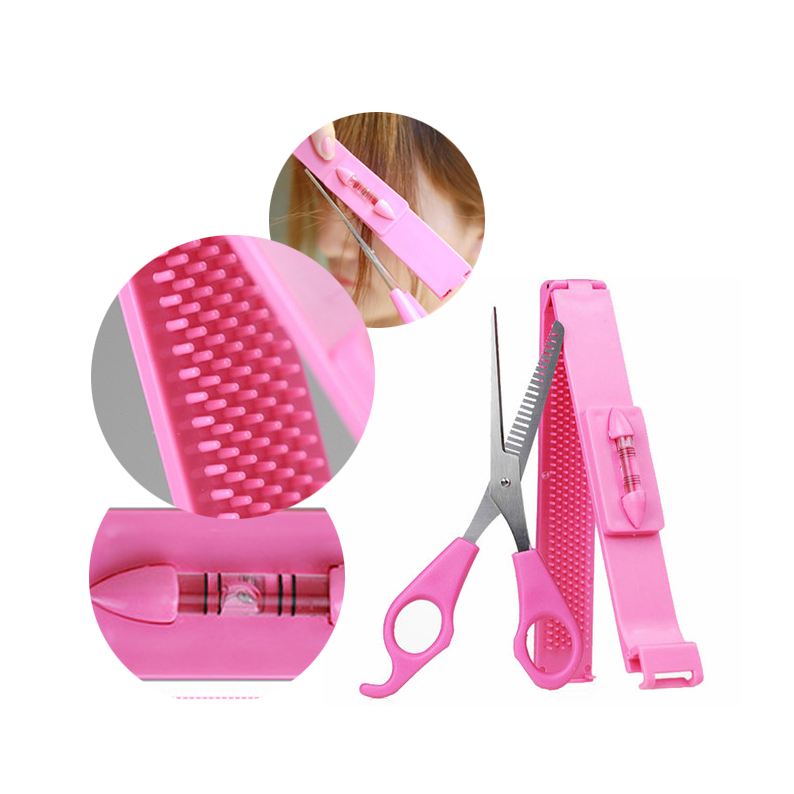 Professional Pink DIY Tools Women Artifact Set Hair Cutting Scissor with Ruler Hair Cutting Pruning Bangs Hairdressing
