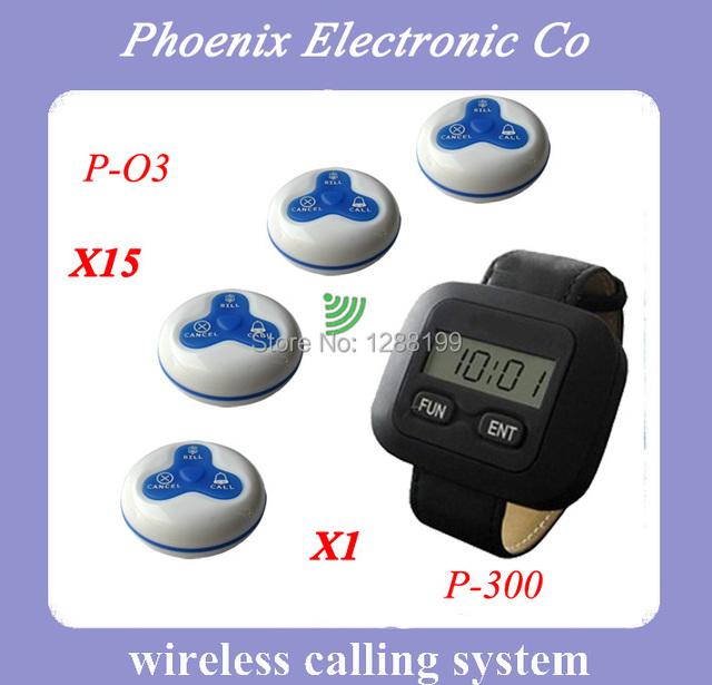 Nueva Llegada Receptor de Pulsera P-300 Y Clave Botón de Llamada Para El Restaurante Sistema de Campana de Llamada del Camarero, Precio de Venta entero