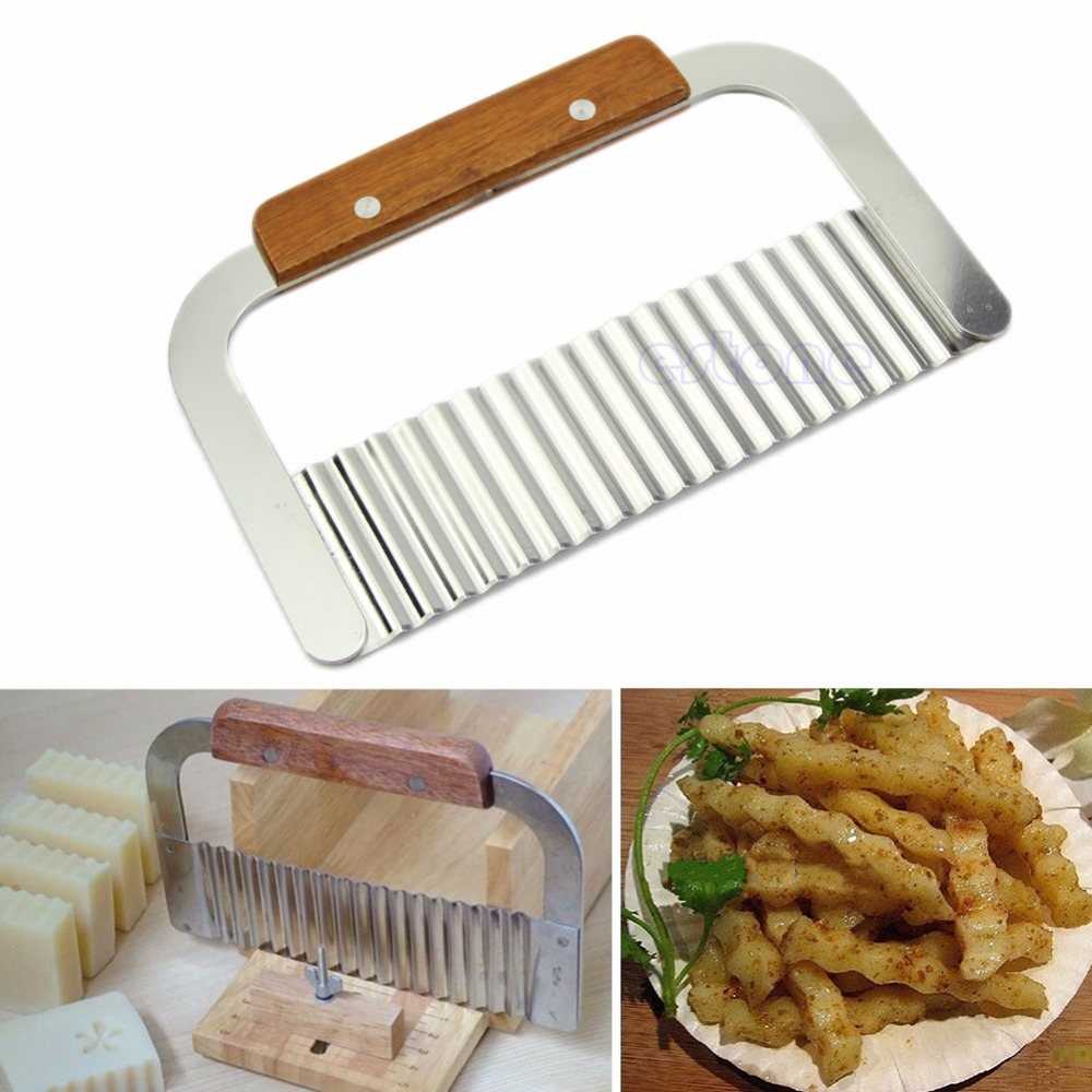 Potato Chip Dough Vegetable Crinkle Wavy Cutter Blade Knife Stainless Steel New Drop ship