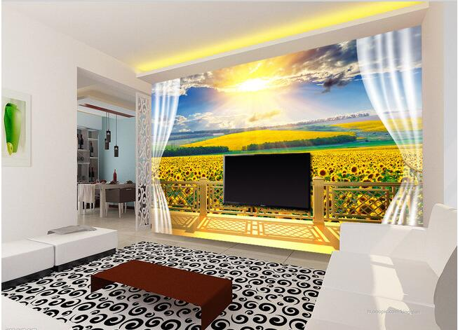 3d wallpaper custom mural non-woven Wall stickers 3 d balcony sunflower field background painting photo 3d wall mural wallpaper free shipping european corridor wall painting background wallpaper hawaii non woven wallpaper mural