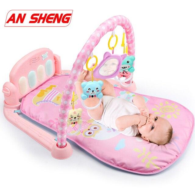 Nouveau 3 en 1 bébé tapis de jeu bébé gymnastique jouets doux éclairage hochets jouets musicaux pour bébés jouets éducatifs jouer Piano gymnase bébé cadeaux