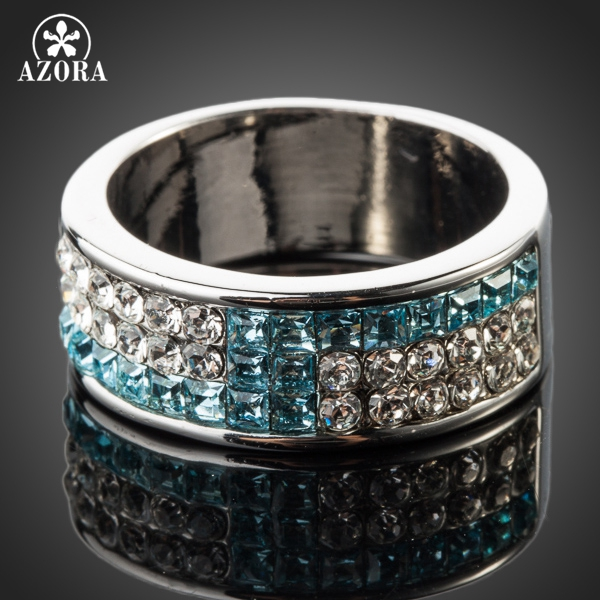 b5e716d7a AZORA White Gold Color Full Blue and Transparent Stellux Austrian Crystal  Ring TR0083