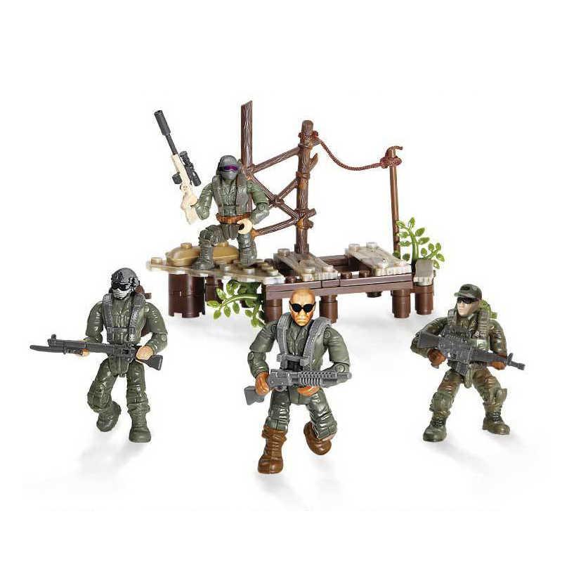 Bloque de construcción militar moderno Sirius Commando cruzar el pantano ejército figuras de acción arma mega ladrillos juguetes para niños regalos