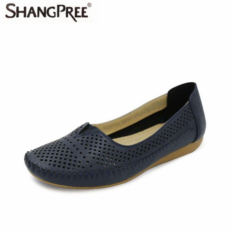 Summer New Fashion 2017PU Leather Ladies Hollow Shallow Mouth Leisure Shoes Wear-Resistant Non-Slip Comfortable Flat Shoes
