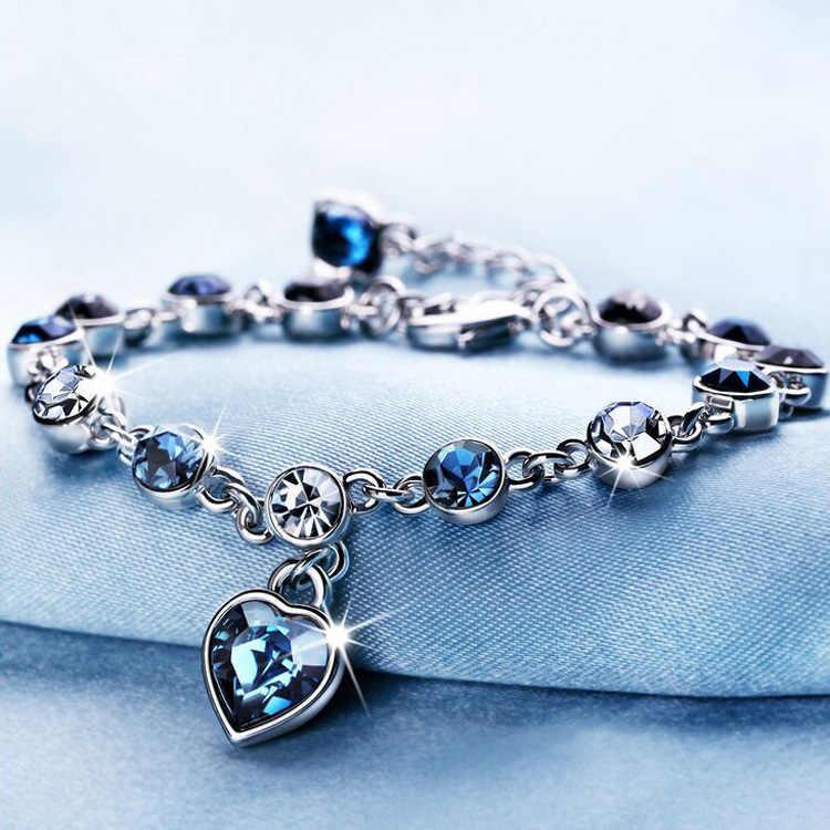Koreańska wersja nowej mody austriackie kryształowe serce w kolorze oceanu bransoletka damska