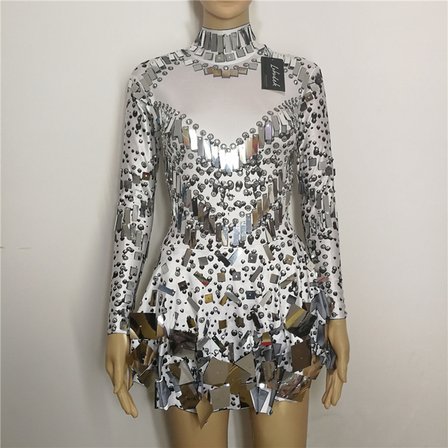 white Sequins mirrors stones one-piece Dress sexy Nightclub prom Bar DJ DS female costumes singer prom Party performance show