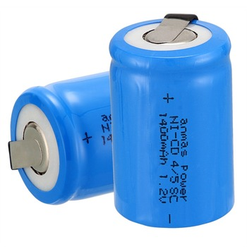 Anmas power! high quality 2 pcs a set Ni-Cd 36g 4/5 SubC Sub C 1.2V 1400mAh Rechargeable Battery with Tab - Blue image