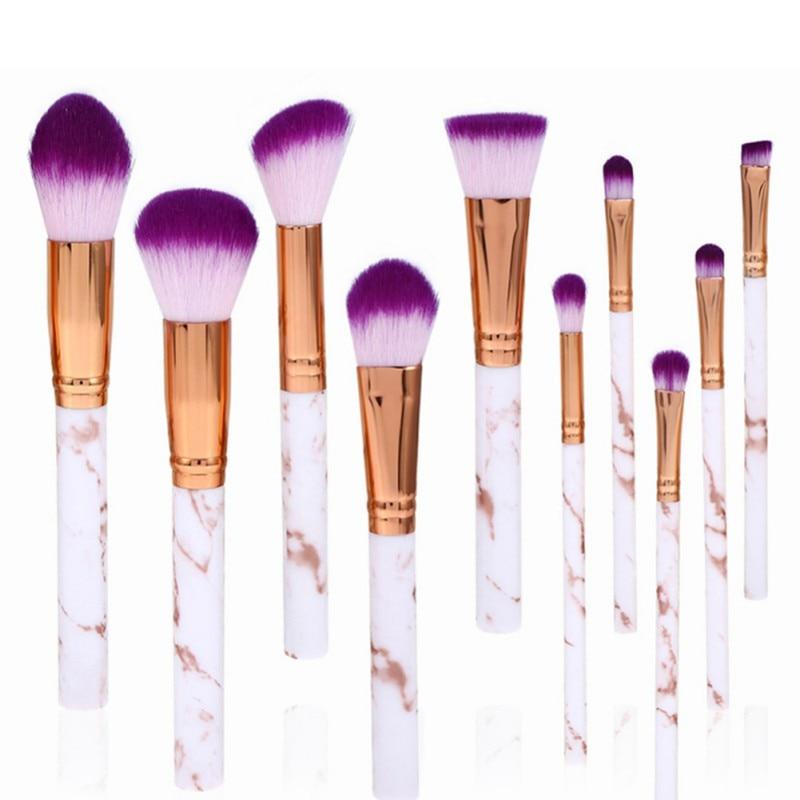 10Pcs Powder Foundation Eye Shadow Contour Blush Cosmetic Marbling Make Up Brush Tool Marble Texture Makeup Brushes Set