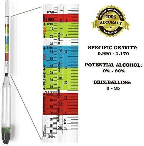 Triple Scale Hydrometer For Home brew Wine Beer Cider Alcohol Testing 3 Scale hydrometer