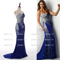 2016 Zuhair Murad Crystal Beaded  Blue Mermaid Long Evening Dresses 2015 Off the Shoulder Prom Party Dress Robe De Soiree Longue