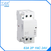 Din rail household AC contactor  63A 2P 1NC 24V Household contact module Din Rail Modular contactor rated current 50a 3poles 1nc 1no 24v coil ith 80a ac contactor motor starter relay din rail mount