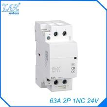 Din rail household AC contactor  63A 2P 1NC 24V Household contact module Rail Modular