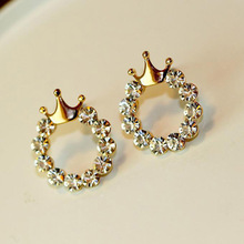 Free shipping Korean Style Fashion Hot Round Rhinestone Glossy Gold Crown Stud Earrings F Women Popular Jewelry