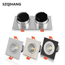 10W/2*10W Square Recessed led down light Double COB LED Ceiling Lamp Dimmable Adjustable Downlight 110v/220v/230v