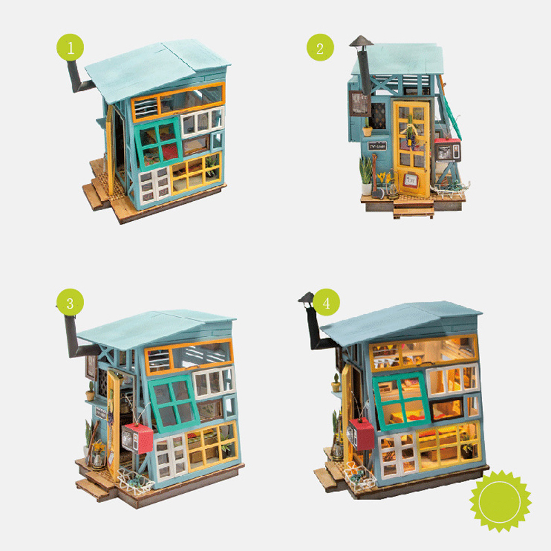 DIY Doll House Miniature With Furniture Art House Creative Wooden Mini Dollhouse Gift Toys Model For Kids Floating Life DGM03 #E