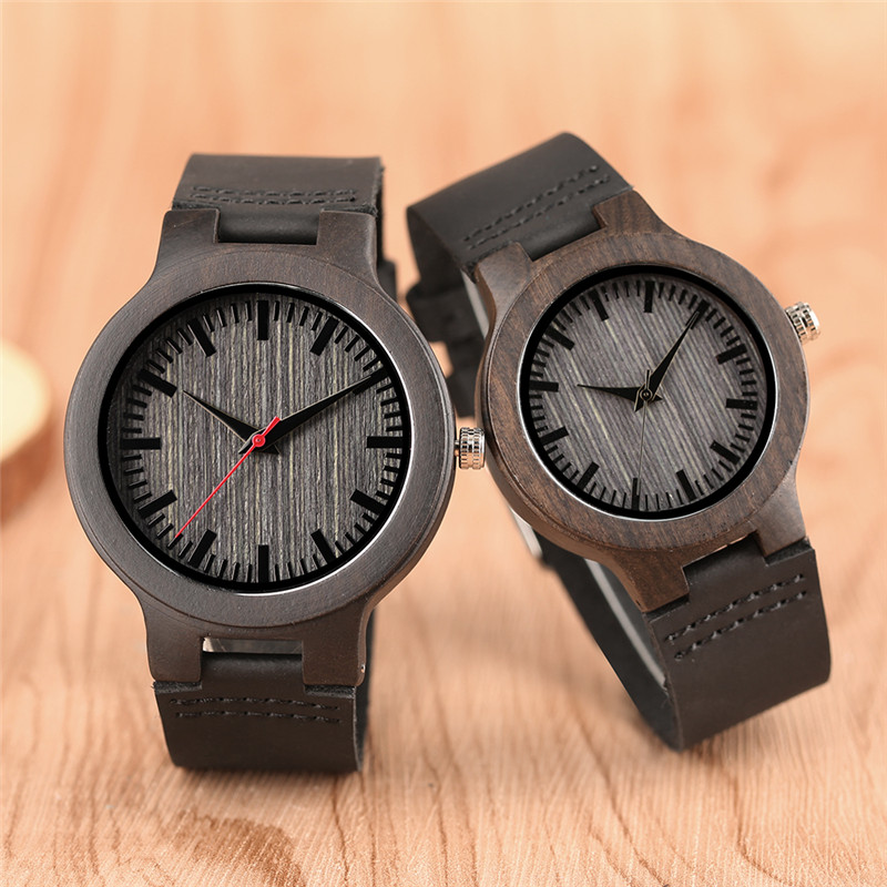 Top Luxury Ebony Natural Wooden Clock Casual Leather Wood Quartz Wristwatch Fashion Lovers Souvenir Valentine Gifts Dress Watch