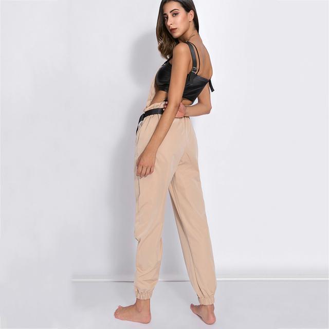 Realpopu Khaki Rompers Womens Jumpsuit Long Elegant Zipper Pockets Sleevlesee Adjusted Strap High Waist Cotton Fashion Summer
