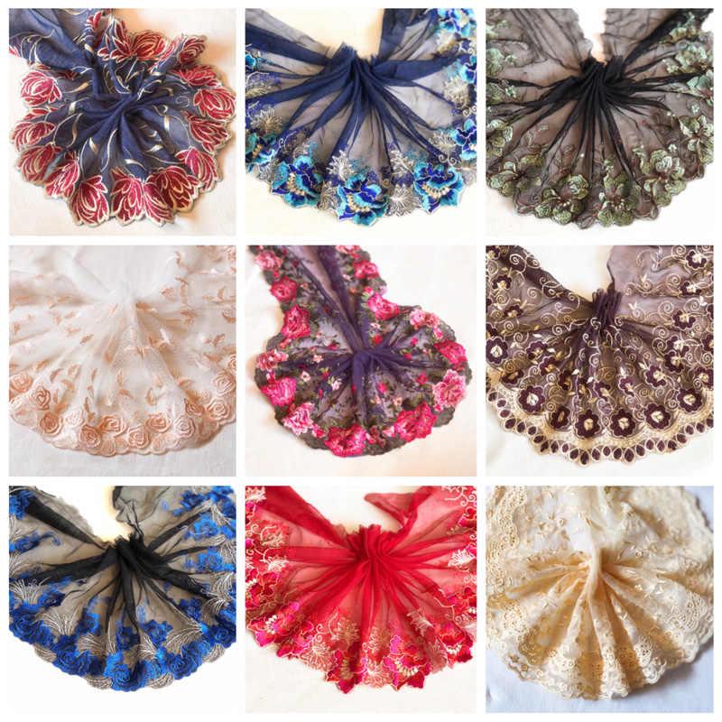 4 м/лот яркое Сетчатое вышитое цветочное кружево национальный ветер шаль/юбка для