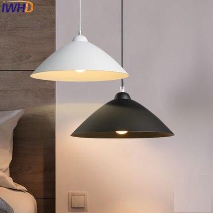 Işıklar ve Aydınlatma'ten Kolye ışıkları'de IWHD Beyaz Siyah Hanglamp LED kolye Işıkları Modern Moda Demir Asılı Lamba Yemek Odası Süspansiyon Armatür Aydınlatma Armatürleri