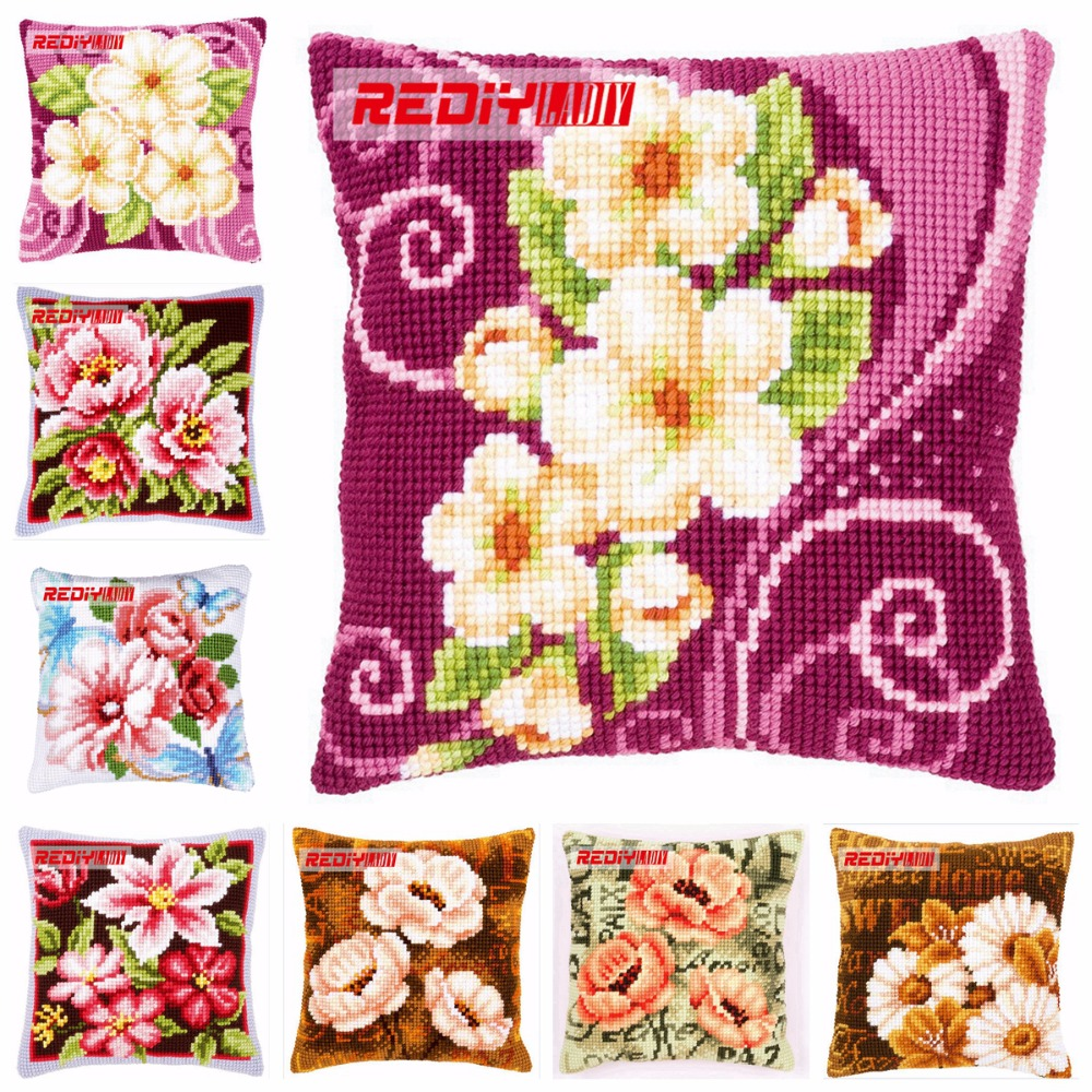 Package Rediy Ladiy Cross Stitch Cushion Cover Horses Home Decorative Pillow Case Chunky Cross-stitch Kits Sofa Throw Pillow Needlework Home & Garden