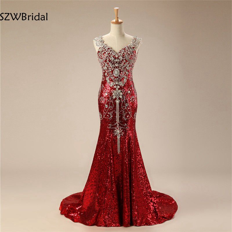 New Arrival V Neck Sequin Lace   Evening     dress   2019 Beaded Crystals Illusion Mermaid   Evening     dresses   Plus size vestido de festa