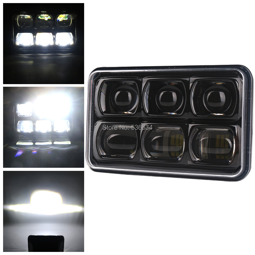 60W 5'' 4x6 inch CE DOT Super light 6D Approved Square Led Work Light Spot Beam for Ford Mustang Nissan Sand rails, Cars, Truck,