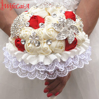 Ribbon flower red ivory color wedding bouquets bridal wedding hand holder flowers bouquet with white lace.jpg 200x200