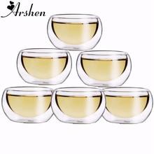 Arshen Прочный 6 шт./компл. 50 мл элегантный прозрачный питьевой здоровая чашка термостойкие двойными стенками Слои Чай стакана воды Цветочный чай чашки