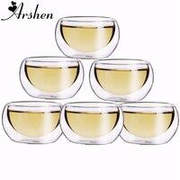 Arshen Прочный 6 шт./компл. 50 мл, элегантные прозрачные чаши для питья, термостойкие двухслойные чайные чашки с двойным слоем, чашки для чая с вод...