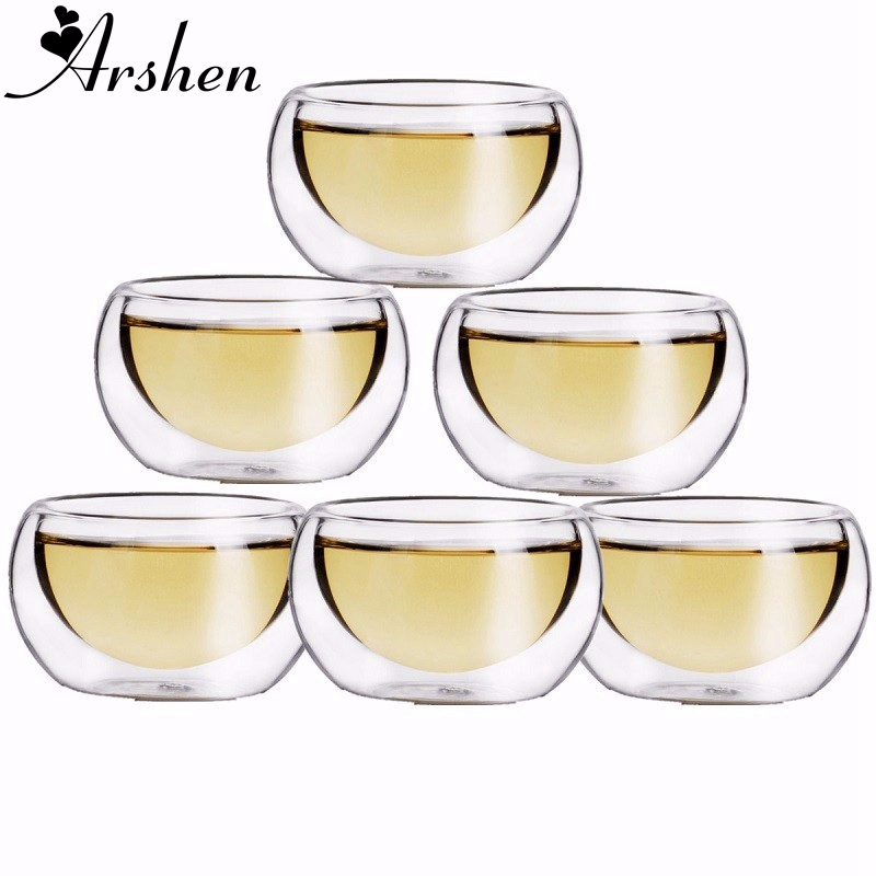 Arshen Durable 6pcs/Set 50ML Elegant Clear Drinking Healthy Cup Heat Resistant Double Wall Layer Tea Cup Water Flower Tea Cups
